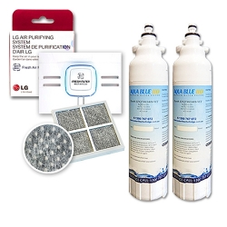 2x LT800PWF (ADQ73613401) LG Replacement Water  Filter with LG AIR Filter LT120F (ADQ73214404)