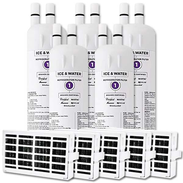 whirlpool fridge water filter edr1rxd1x5 with air filter w10311524x5 set